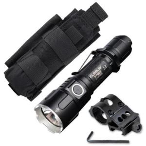 Combo: Klarus Xt11s Flashlight -cree Xp-l Hi V3 Led -1100 Lumen -includes 2600mah Battery W/offset Gun Mount +tactical Holster