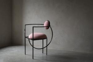 Lunar Chair In Steel And Wool, Pink - Urban Shop