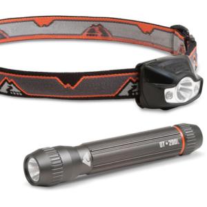 Ozark Trail 200 Lumens Cree Led Aluminum Flashlight And Ozark Trail 150 Lumens Multi-color Led Headlamp Value Bundle