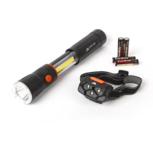 Ozark Trail 2-in1 Aluminum Retractable Flashlight And Headlamp Combo