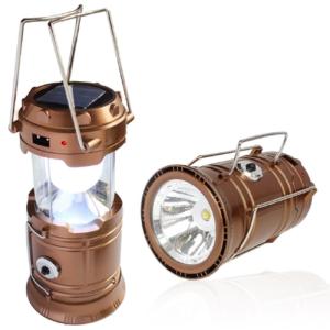 Solar Powered Camping Lantern, Solar Led Camp Light & Handheld Flashlight, Gold - Solar Smart Creations