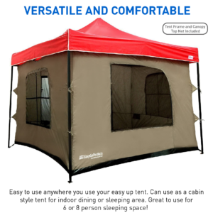 Solid Wall Camping Tent- Attaches To Any 10'x10' Easy Up Pop Up Canopy Tent - EasgyGo Products
