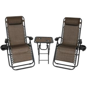 Sunnydaze Decor Zero Gravity Dark Brown Sling Beach Chairs With Side Table (set Of 2)